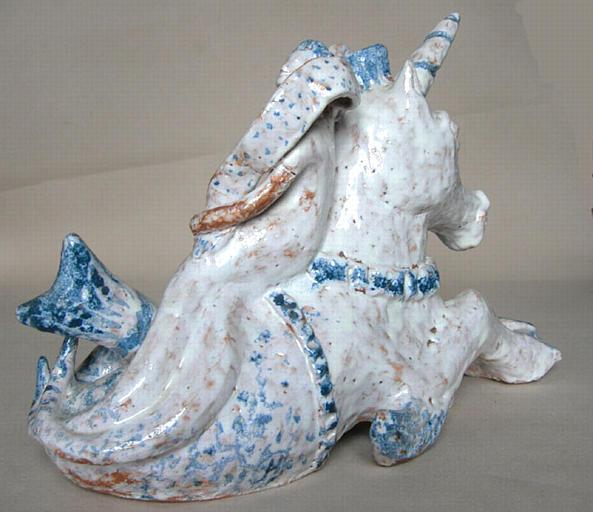 JEAN-HAFFEN Yvonne : Licorne de mer portant une sirène [titre attribué]