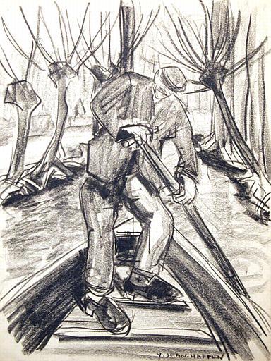 Marais poitevin : homme naviguant à la pigouille [titre attribué]_0