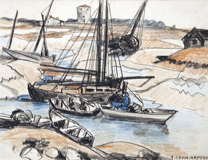 Marais poitevin : barques de pêche à marée basse [titre attribué]_0