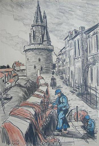 Entretien des filets devant une tour de La Rochelle [titre attribué]_0