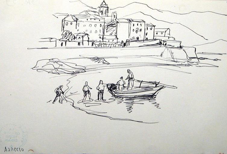 Le rivage à Ajaccio (croquis) [titre attribué]_0