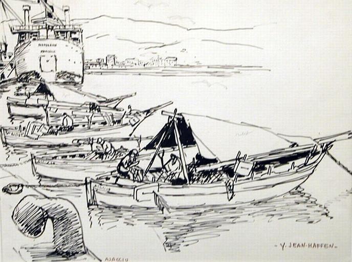 Ajaccio : barques de pêche devant le Napoléon [titre attribué]_0