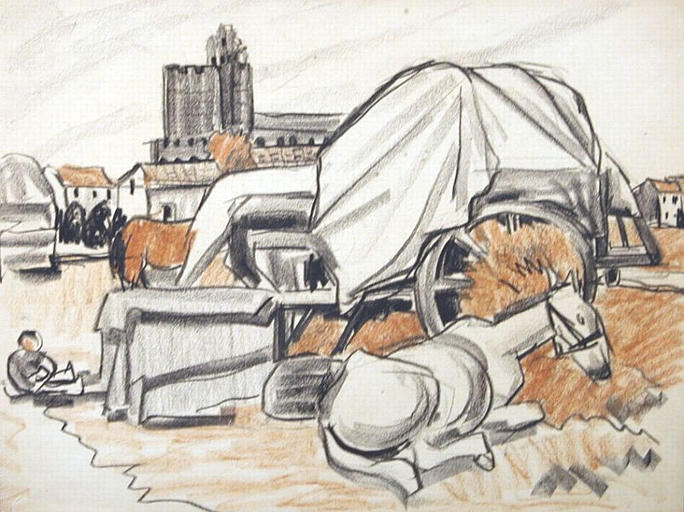 Le cheval couché dans le campement [titre attribué]_0
