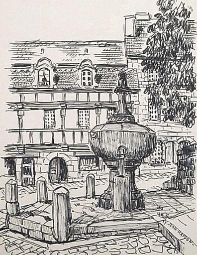 Pontrieux : la fontaine sur la place [titre attribué]_0