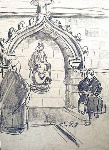 Notre-Dame du Folgoët : la fontaine (esquisse) [titre attribué]_0