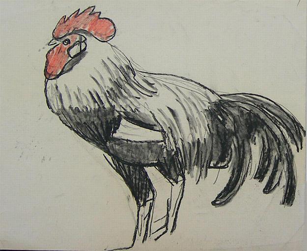 Coq noir et blanc (étude) [titre attribué]_0