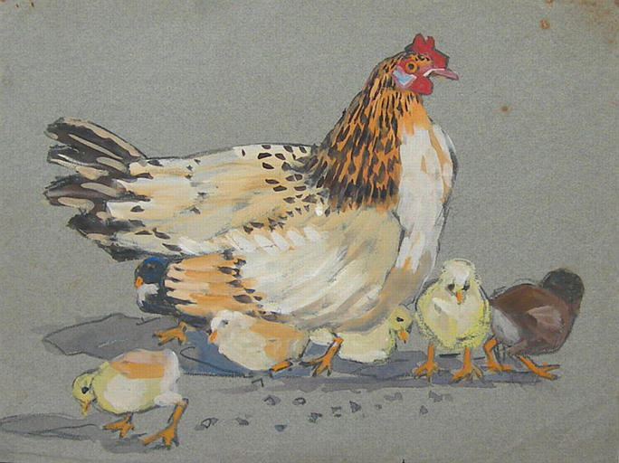 La poule et ses poussins (étude) [titre attribué]_0