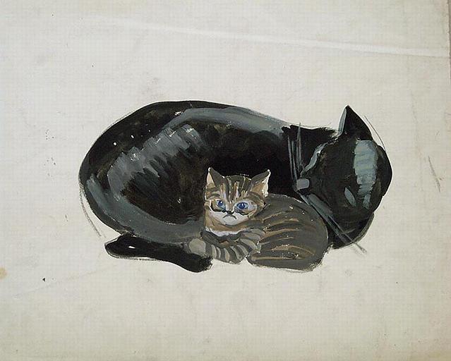 Le petit chat éveillé (étude) ; au dos fragment d'étude de dromadaire [titre attribué]_0