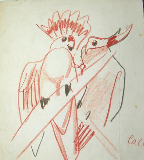 Deux perroquets (croquis : projet décoratif) [titre attribué]_0
