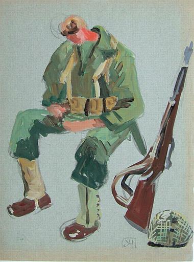 Soldat américain assis (étude) [titre attribué]_0