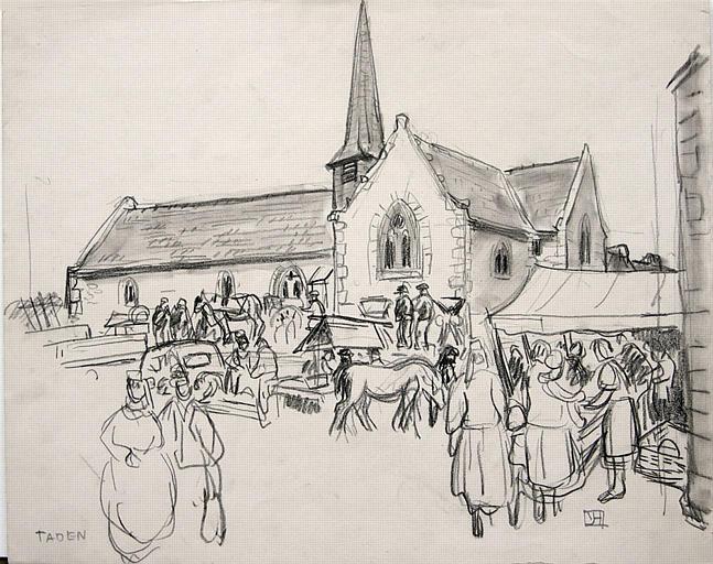 Taden : marché autour de l'église (esquisse) [titre attribué]_0