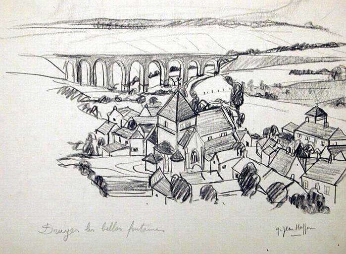Druyes-les-Belles-Fontaines : le village et le viaduc (esquisse) [titre attribué]_0