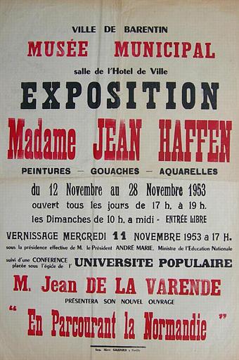 BARENTIN ; Musée Municipal ; Du 12 au 28 novembre 1953 (exposition Yvonne Jean-Haffen) [titre attribué]_0