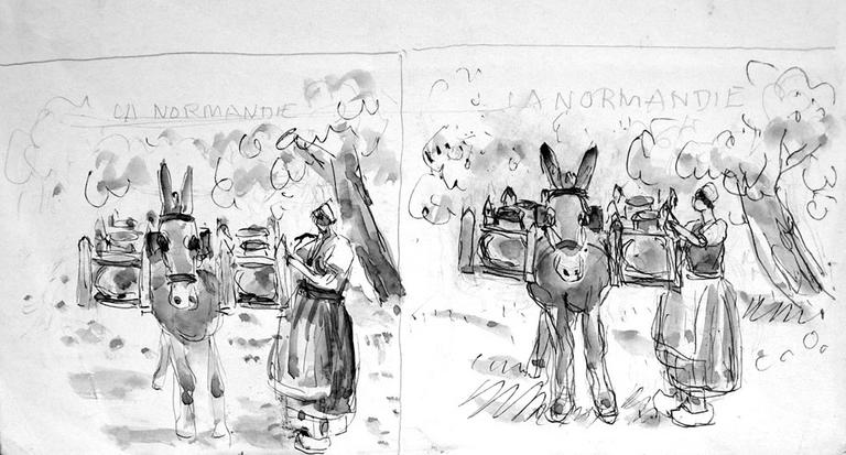 Transport du lait normand (deux croquis jumeaux) [titre attribué]