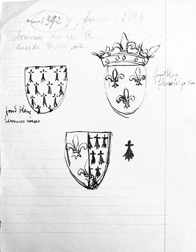 Recherches armoiries (copies de documents) [titre attribué]