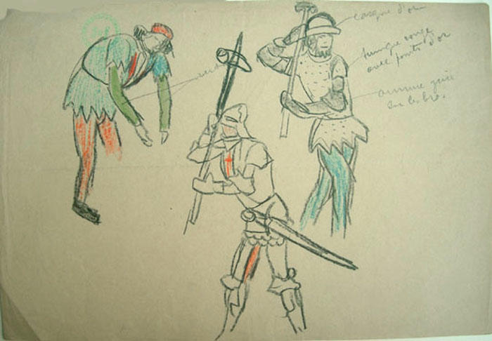 Croquis, recherches sur l'histoire bretonne (copies de documents) (série A) [titre attribué]