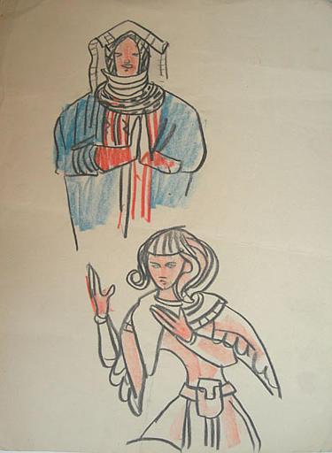 Croquis, copies de costumes (époques diverses) [titre attribué]