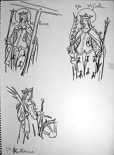 Personnages nobles, religieux ou guerriers de l'histoire bretonne : copies d'illustrations diverses (série A) [titre attribué]