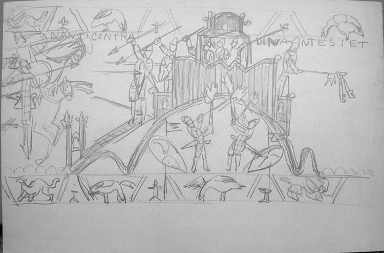 Motifs de la tapisserie dite de la Reine Mathilde [titre attribué]