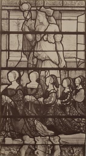 Vitrail de la chapelle de Chantilly : l'épouse du connétable Anne de Montmorency et ses enfants. 1544_0