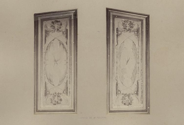 Fragments du cabinet des Singes (plafond de la fenêtre)