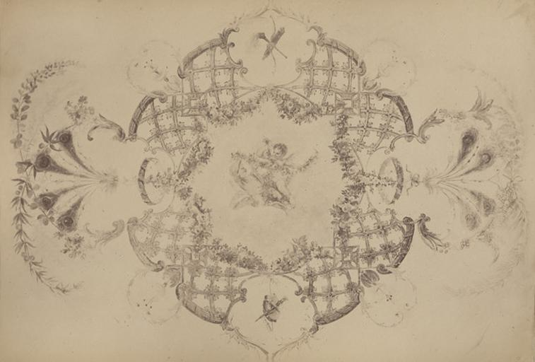Fragments du cabinet des Singes (rosace du plafond)