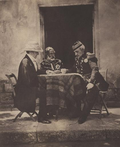 The Council of War held on the morning of the taking of the Mamelon : Lord Raglan, Omar Pacha, General Pelissier. 19 novembre 1855