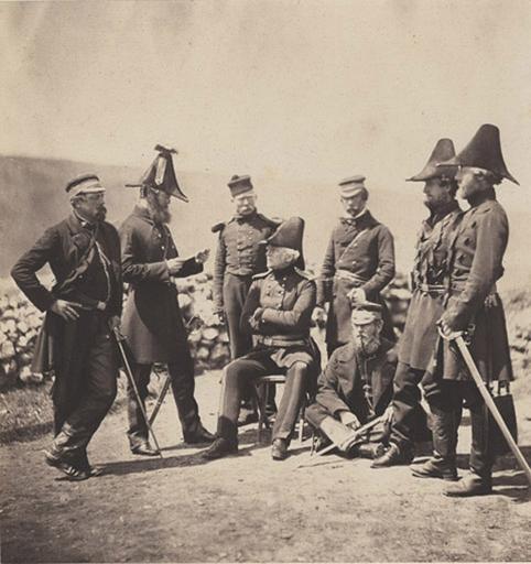 Lt/Gal Sir George Brown & Staff, Major Hallewell, Col. Brownrigg, Orderly, Capt.n Pearson, Capt.n Ponsonby, Col. Airey, Capt. N Markham, Jan.y Ist 1856