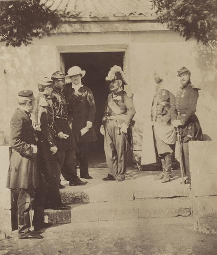 Group at Head Quarters, Lord Burgleish, aide de camp col. Vico, Lord Raglan, Pelissier, aide de camp, Spahi, Feb.y 29 th 1856