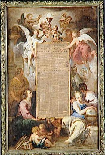 GLORIFICATION DE L'EUCHARISTIE : ANGES ET FIGURES ALLEGORIQUES DES ARTS ET DES SCIENCES PRESENTANT LA THESE DU BRUGEOIS JOANNES DE VOS (1695)_0