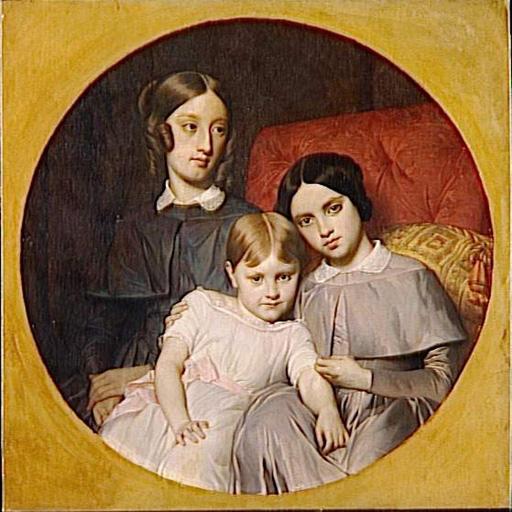 PORTRAIT DES TROIS FILLES D'ALPHONSE JACOB-DESMALTER (plus tard Mesdames Guillaume, Lecast et Bonart)
