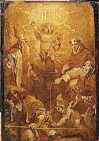 L'ENFANT JESUS EN GLOIRE ENTOURE DE SAINTS_0