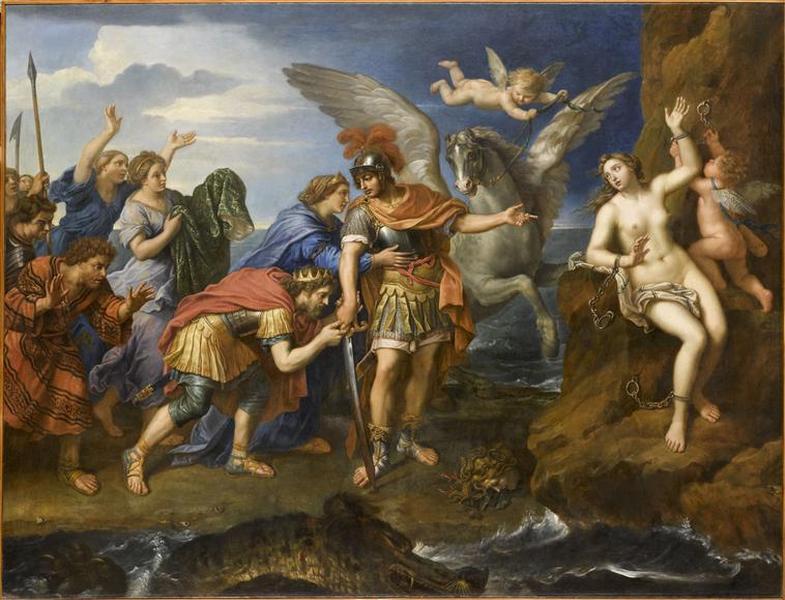 Le roi Céphée et la reine Cassiopée remerciant Persée d'avoir délivré leur fille Andromède dit aussi La délivrance d'Andromède ; Persée délivrant Andromède (autre titre)_0