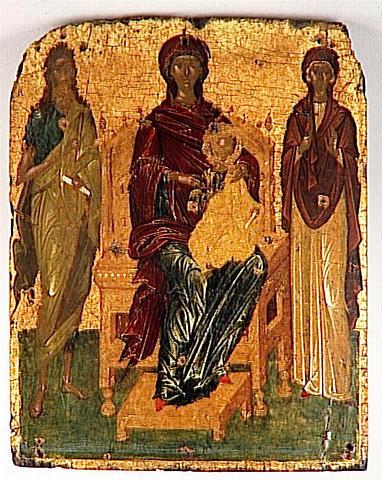 LA VIERGE TRONANT AVEC L'ENFANT JESUS ENTRE SAINT JEAN-BAPTISTE ET SAINTE PARASCEVE