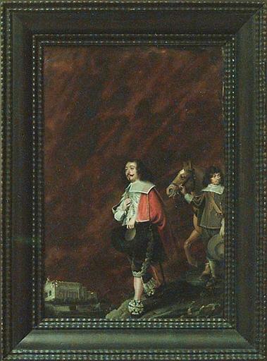 Portrait d'un gentilhomme sur fond de paysage italien