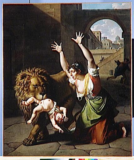 LE LION DE FLORENCE, dit au Salon : TRAIT SUBLIME DE MATERNITE DU SIECLE DERNIER ARRIVE A FLORENCE_0