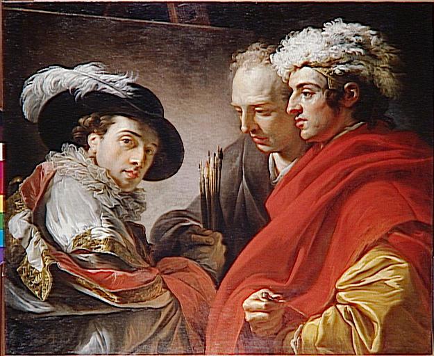 PORTRAIT DE TROIS HOMMES (l'artiste, l'architecte Rousseau et un inconnu)_0