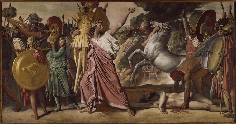 Romulus,vainqueur d'Acron, porte les dépouilles opimes au temple de Jupiter_0