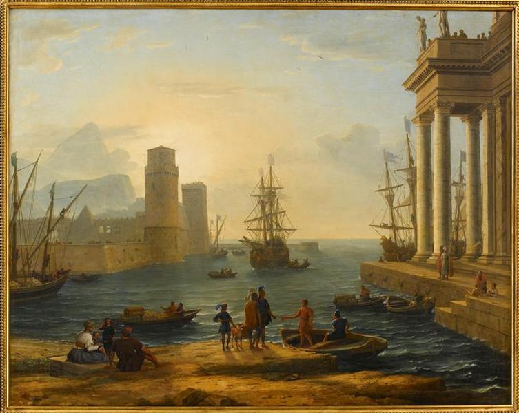 Vue d'un port de mer, effet de brume ('Ulysse quittant l'île des Phéaciens' ou bien 'Enée, Iule et Achate ?')_0
