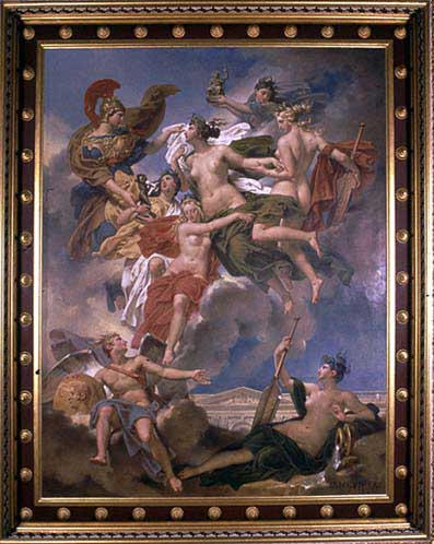 Les nymphes de Parthénope, emportant loin de leur rivage les pénates, images de leurs dieux, sont conduites par la déesse des beaux-arts sur les bords de la Seine_0