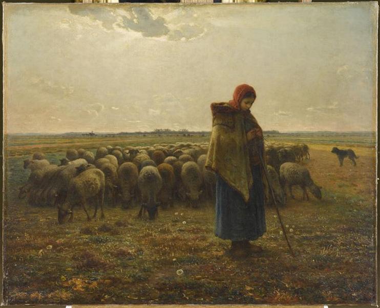 Bergère avec son troupeau ; Bergère gardant ses moutons ou la grande bergère (autre titre)_0