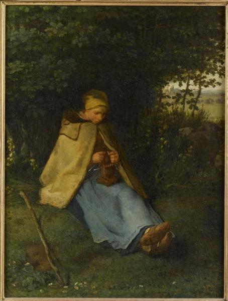 La tricoteuse dit aussi, Une bergère assise tricotant_0
