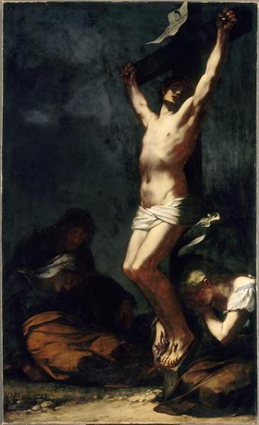 LE CHRIST SUR LA CROIX. LA MADELEINE ET LA VIERGE SONT A SES PIEDS_0
