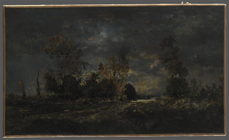 Route dans la forêt de Fontainebleau ; Effet d'orage_0