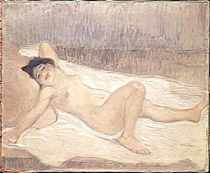 Grand nu féminin sur un lit_0