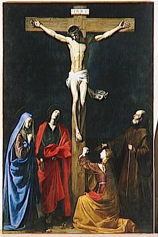 LE CHRIST EN CROIX, LA VIERGE, LA MADELEINE, SAINT JEAN ET SAINT VINCENT DE PAUL_0