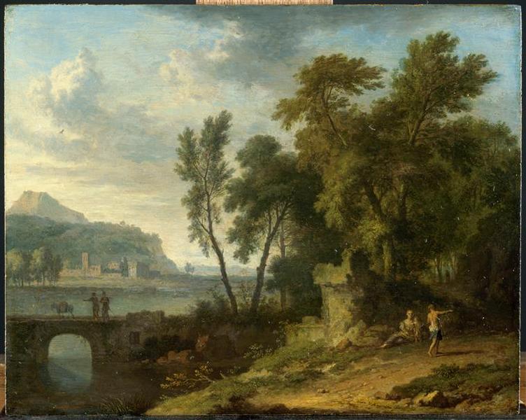 Paysage anime avec ruine et pont_0