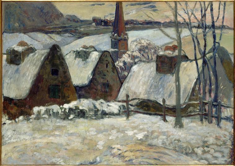Village breton sous la neige_0