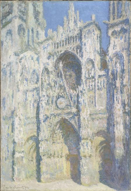 La cathédrale de Rouen ; le portail et la tour Saint Romain ; plein soleil ; harmonie bleue et or_0