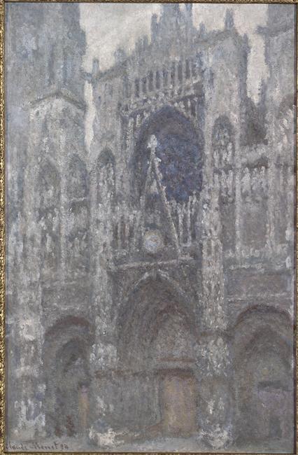 La cathédrale de Rouen ; le portail, temps gris ; harmonie grise_0